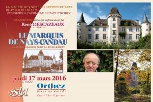 Conférence publique à l'auditorium de l'école de musique, Place du Foirail à Orthez le jeudi 17/03/2016 à 18h30