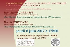 Conférences publiques à l'amphithéâtre de la présidence UPPA de PAU le jeudi 8 juin 2017 à 17h00 par Jean-Marie CARBASSE et Benoît CURSENTE
